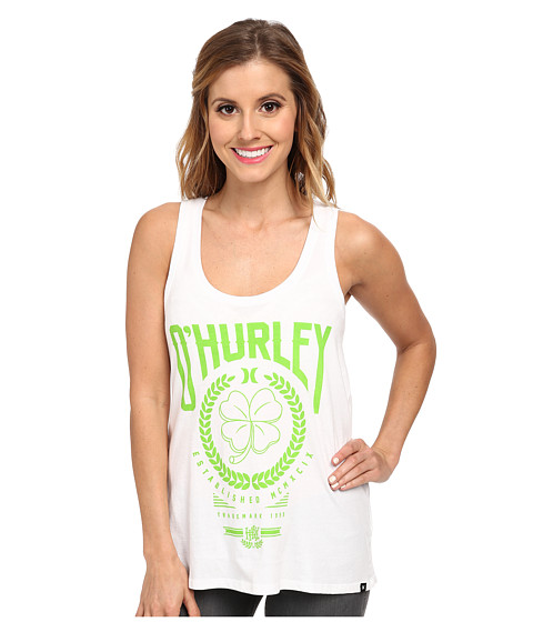 Hurley - Irish Luck Perfect Tank Top (White) Women's Sleeveless