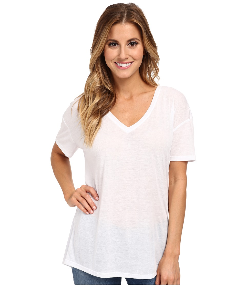 Hurley - Solid Riot V-Neck Tee (White) Women's T Shirt