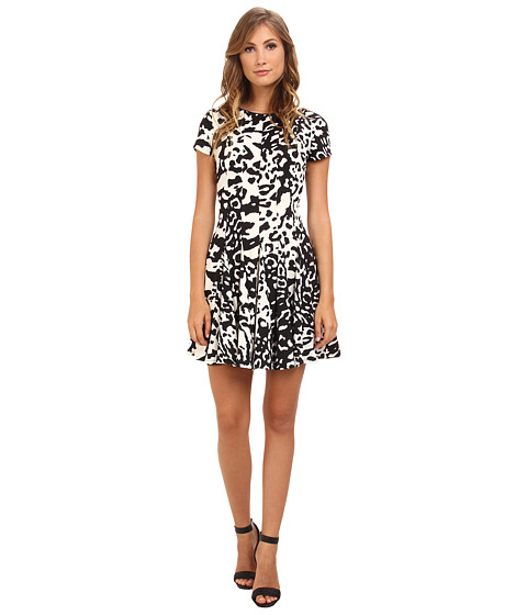 Eliza J - Cap Sleeve Fit Flare Dress w/ Open Triangle Back (Animal) Women
