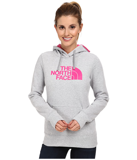 The North Face - Half Dome Hoodie (Heather Grey/Glo Pink) Women's Sweatshirt