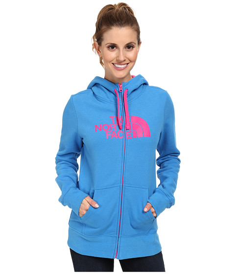 The North Face - Half Dome Full-Zip Hoodie (Clear Lake Blue/Glo Pink) Women's Sweatshirt