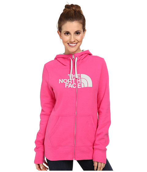The North Face - Half Dome Full-Zip Hoodie (Glo Pink/Gigh Rise Grey) Women's Sweatshirt