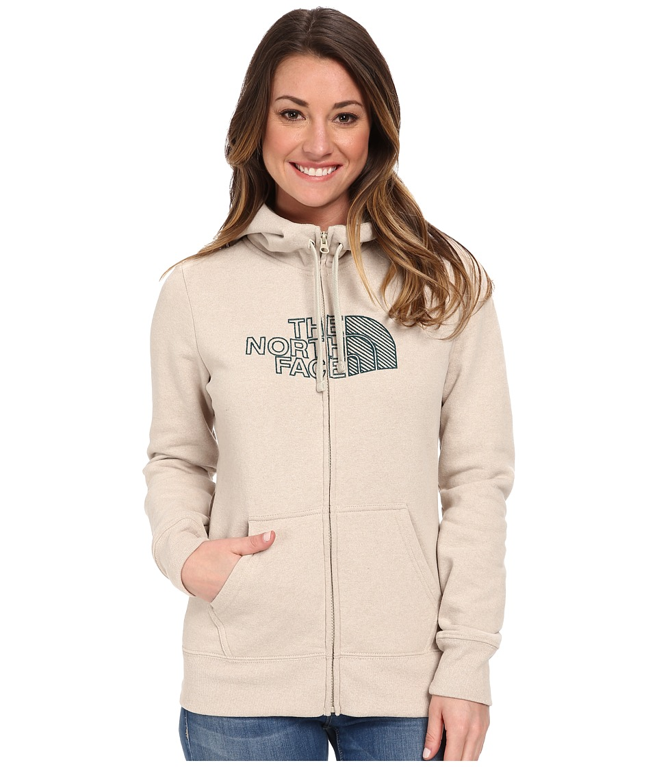 The North Face - Chain Stitched Logo Full-Zip Hoodie (Oatmeal Heather) Women's Sweatshirt