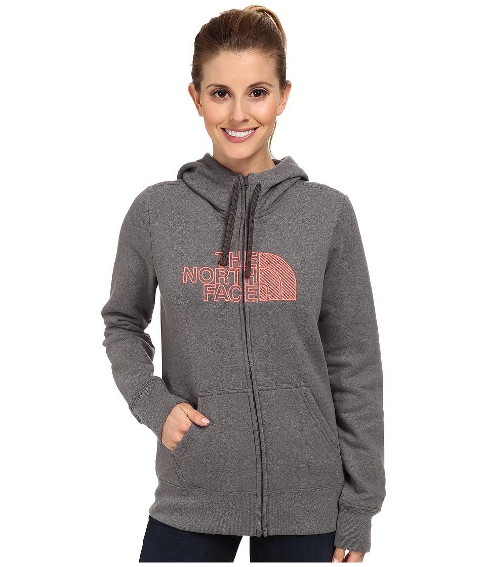 The North Face - Chain Stitched Logo Full-Zip Hoodie (Charcoal Grey Heather) Women