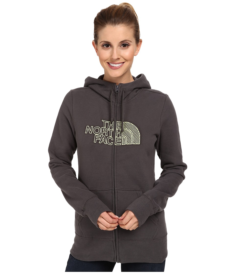 The North Face - Chain Stitched Logo Full-Zip Hoodie (Graphite Grey) Women