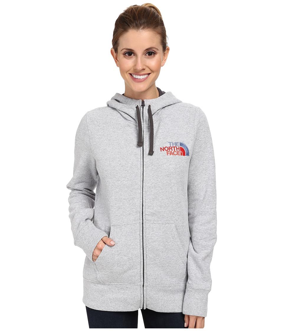 The North Face - EMB Logo Full-Zip Hoodie (Heather Grey/Vintage Blue Multi) Women