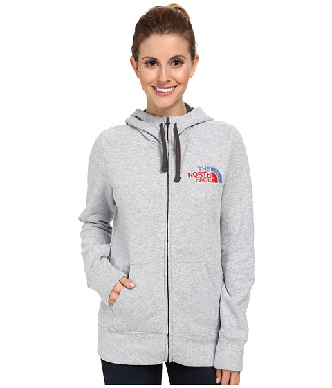 The North Face - EMB Logo Full-Zip Hoodie (Heather Grey/Vintage Blue Multi) Women