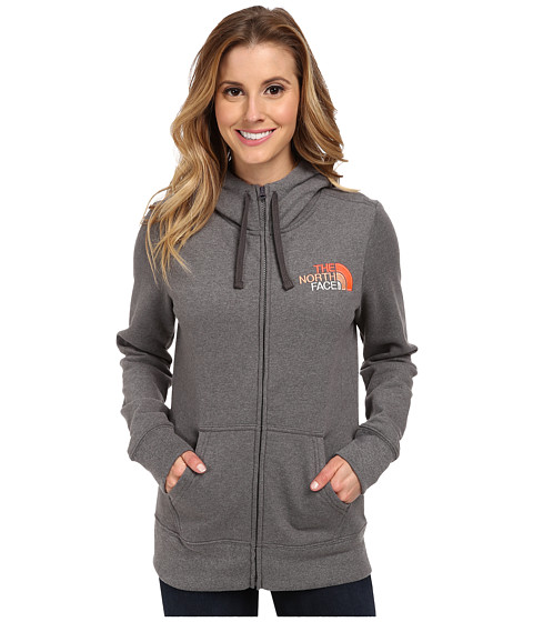 The North Face - EMB Logo Full-Zip Hoodie (Charcoal Grey Heather/Fiery Coral Multi) Women
