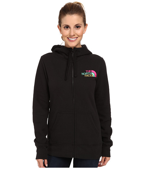 The North Face - EMB Logo Full-Zip Hoodie (TNF Black/Glo Pink Multi) Women's Sweatshirt