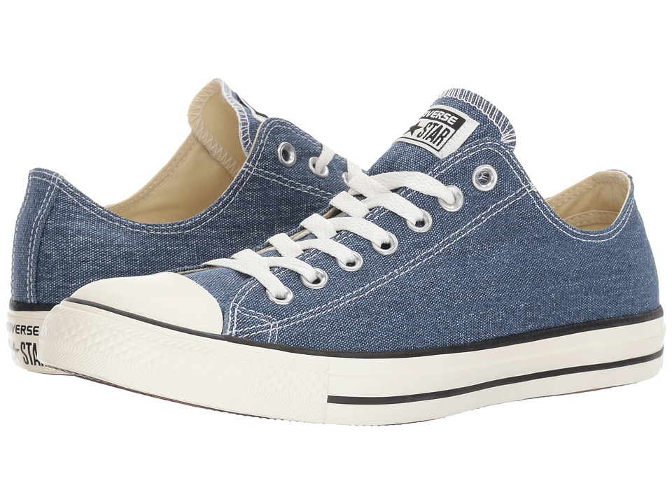 Converse - Chuck Taylor(r) All Star(r) Washed Textile Ox (Navy/Egret/Black) Classic Shoes