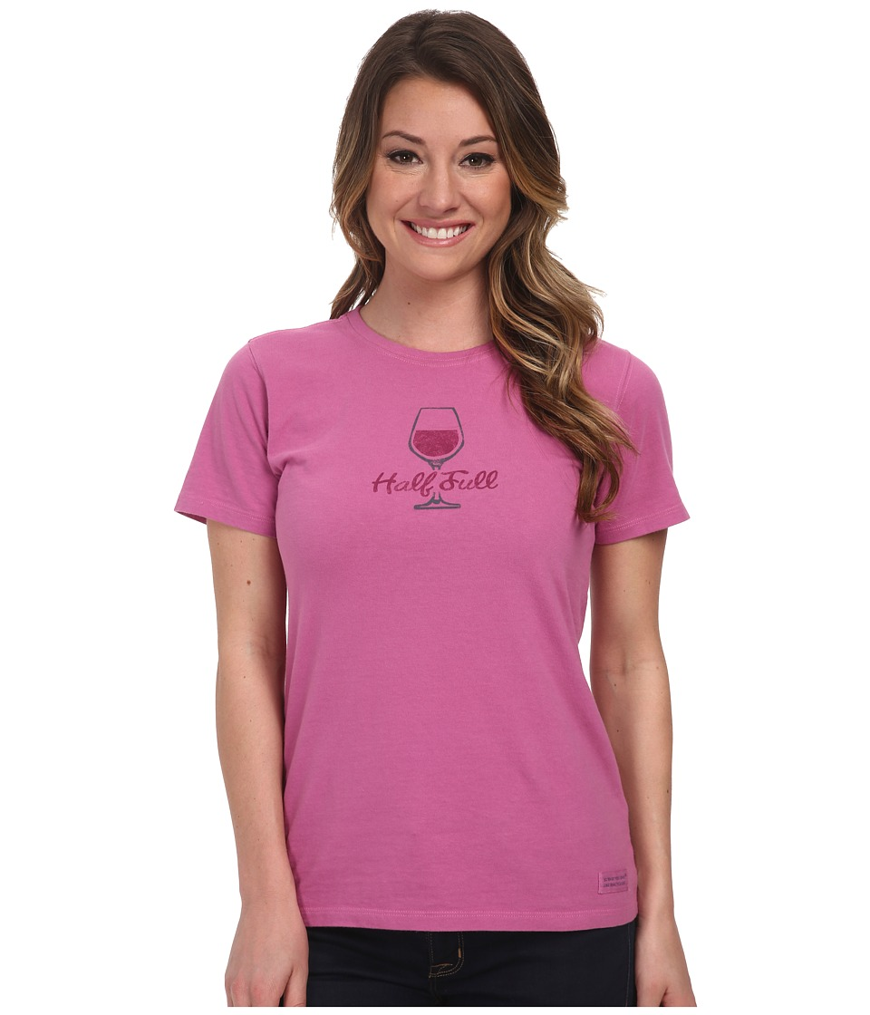 Life is good - Glass Half Full Crusher Tee (Fresh Raspberry) Women's Short Sleeve Pullover