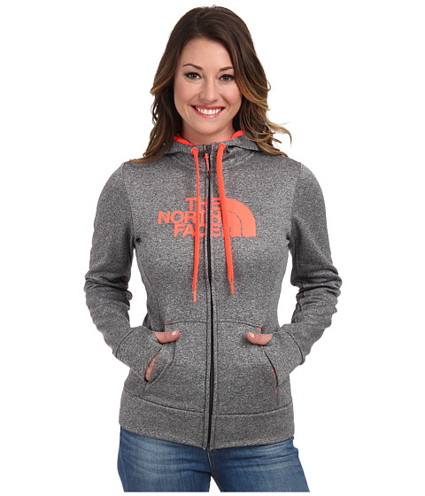 The North Face - Fave Half Dome Full-Zip Hoodie (Heather Grey/Fiery Coral) Women's Sweatshirt