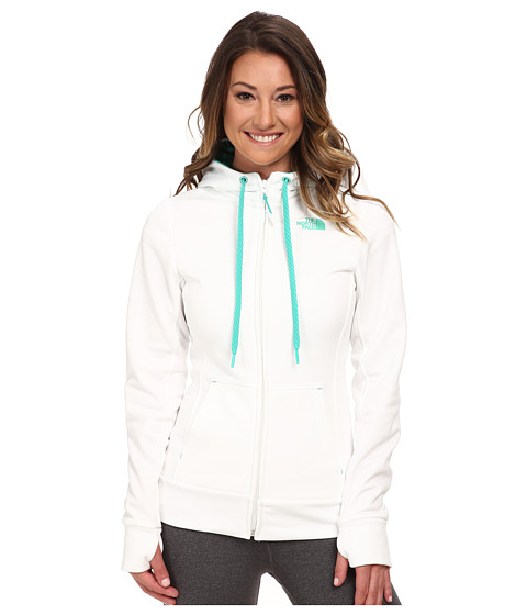 The North Face - Fave Full-Zip Hoodie (TNF White/Billiard Green) Women's Sweatshirt