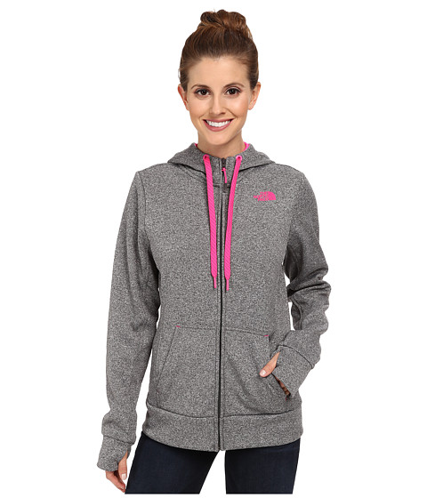 The North Face - Fave Full-Zip Hoodie (Heather Grey/Glo Pink) Women's Sweatshirt
