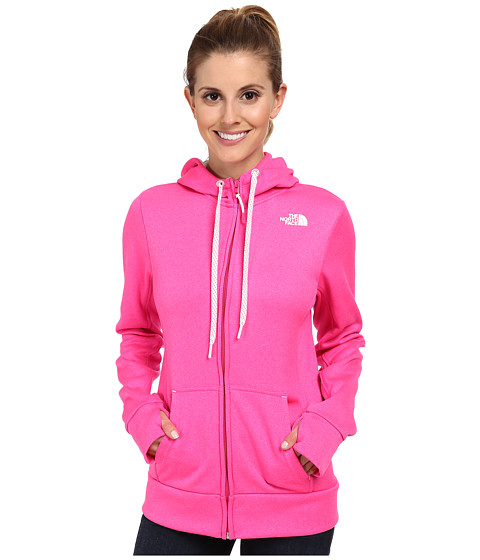 The North Face - Fave Full-Zip Hoodie (Glo Pink Heather/TNF White) Women