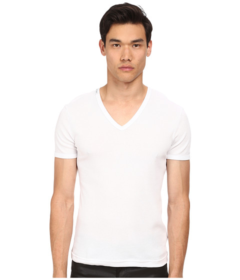 Dolce & Gabbana - Rib 2x2 Cotton V-Neck Tee (White) Men