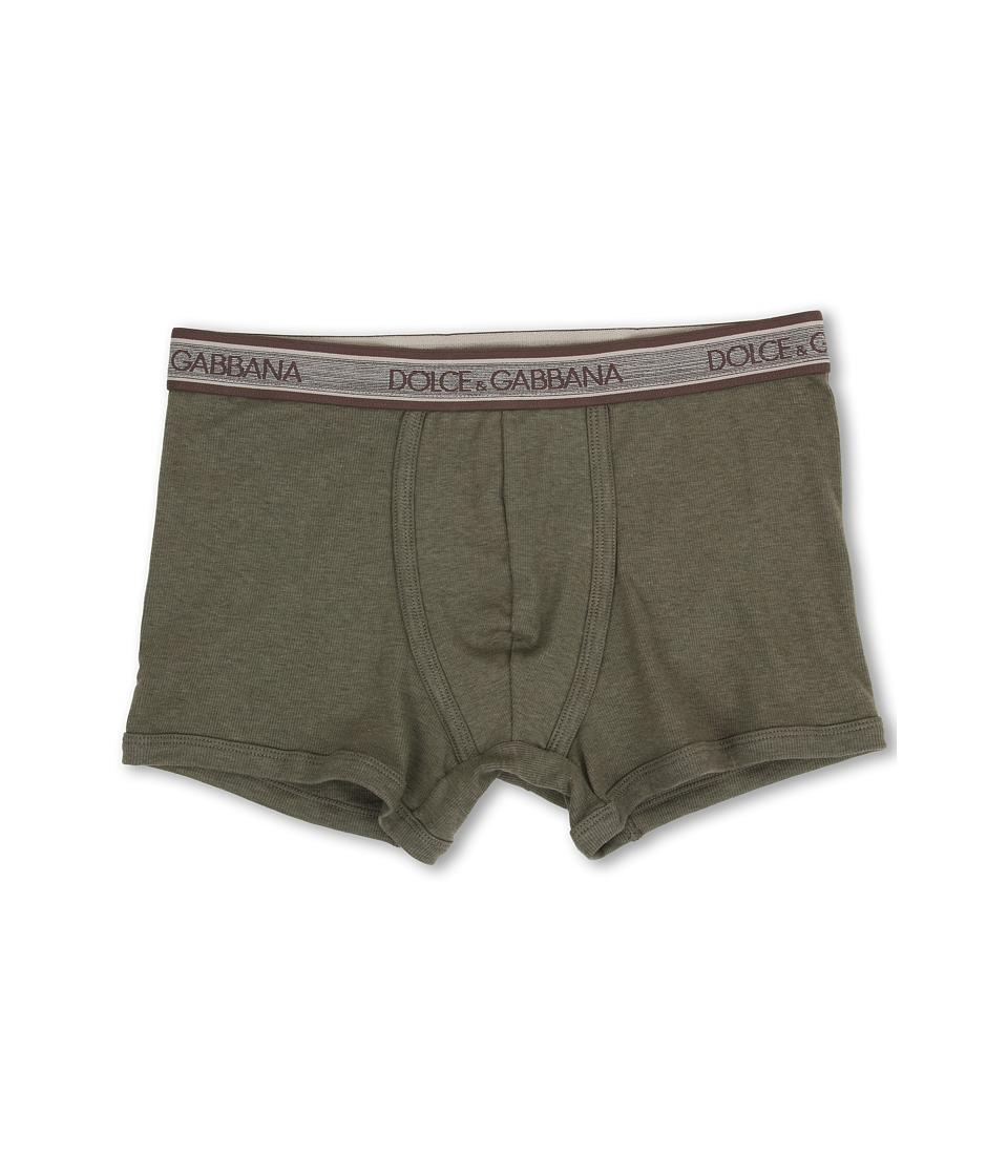 Dolce & Gabbana - Rib 2x2 Stretch Cotton Regular Boxer (Military Green) Men's Underwear