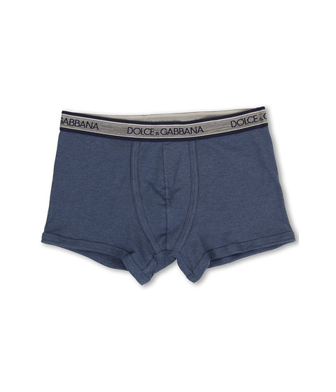 Dolce & Gabbana - Rib 2x2 Stretch Cotton Regular Boxer (Bluette) Men