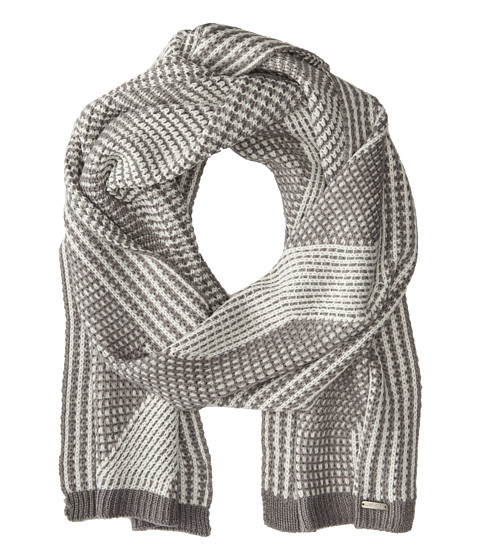 Calvin Klein - Faux Cable Scarf (Heathered Mid Gray) Scarves