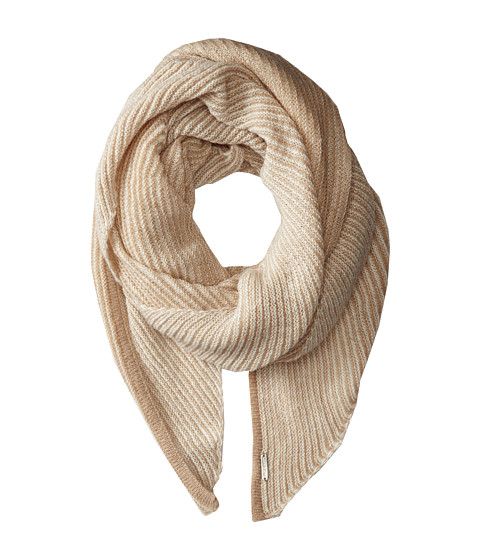 Calvin Klein - Link Stripe Angled End Scarf (Heathered Almond) Scarves