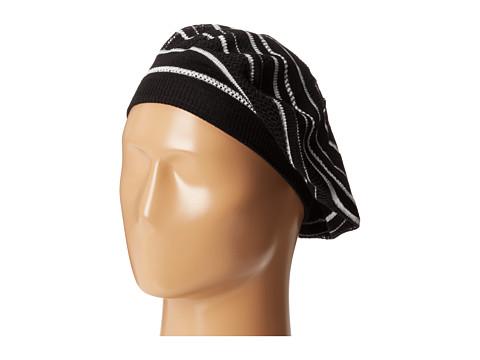 Calvin Klein - Eyelet Stripe Beret (Black) Knit Hats