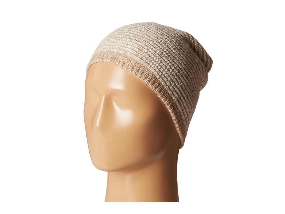 Calvin Klein - Link Stripe Reversible Slouchy Beanie (Heathered Almond) Beanies