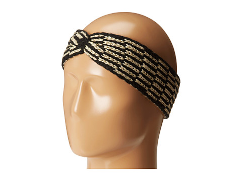Calvin Klein - Metallic Tile Twisted Headband (Black/Gold) Headband