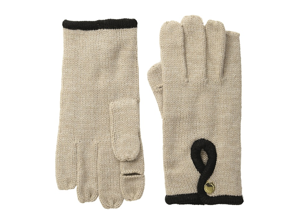 Calvin Klein - Keyhole Touch Glove (Heathered Almond/Cr me) Extreme Cold Weather Gloves
