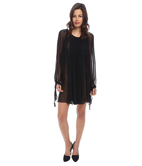 Vera Wang - Chiffon Long Sleeve Pleasant Dress (Black) Women