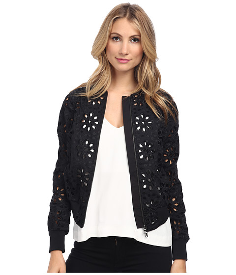 Vera Wang - Cotton Eyelet Baseball Jacket (Black) Women's Coat