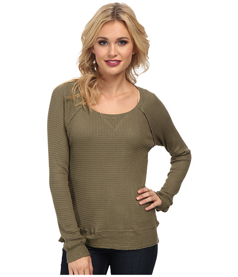 LAmade - Super Luxe Viscose Waffle Thermal Milly Sweatshirt (Military) Women's Sweater