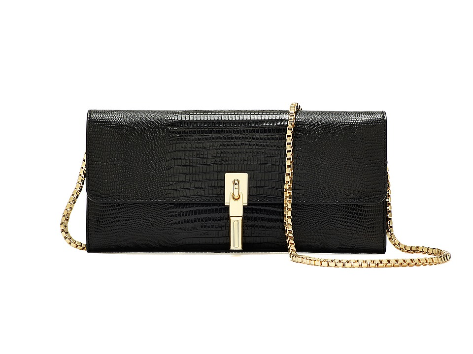 Elizabeth and James - Wallet-On-A-Chain (Black Lizard) Wallet Handbags