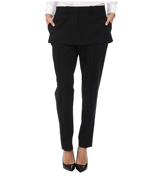 Vera Wang - Stretch Gaberdine Trouser with Miniskirt Peplum (Black) Women