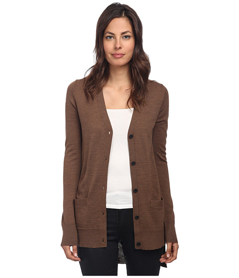 Vera Wang - Cardigan with Tuxedo Tail Back Intarsia Stop It (Vicuna) Women's Sweater