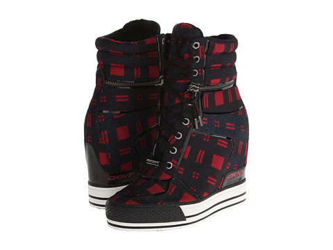 DKNY - Griffin Logo Varsity (Red Plaid Flannel) Women's Lace-up Boots