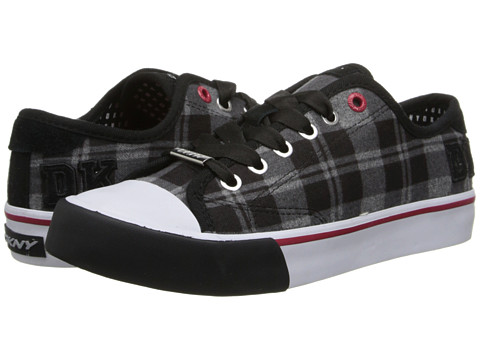 DKNY - Barbara Logo Varsity (Black Plaid Flannel) Women's Lace up casual Shoes