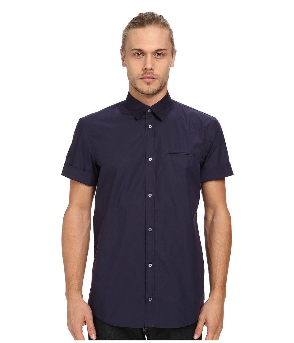 CoSTUME NATIONAL - Slim Fit Short Sleeve (Blue) Men's Clothing