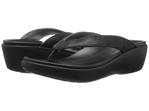 Crocs - Capri Leather Wedge Flip (Black/Black) Women