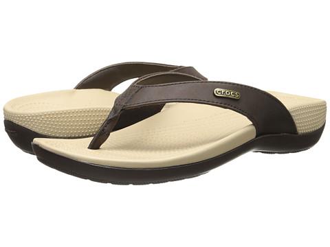 Crocs - Ella Comfort Path Flip (Mahogany/Mahogany) Women's Sandals