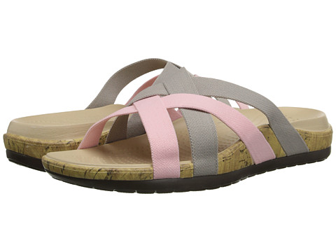 Crocs - Edie Stretch Sandal (Platinum/Pearl Pink) Women's Shoes