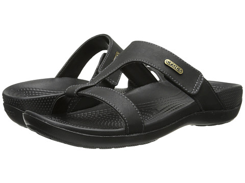 Crocs - Ella Comfort Path Sandal (Black/Black) Women's Sandals
