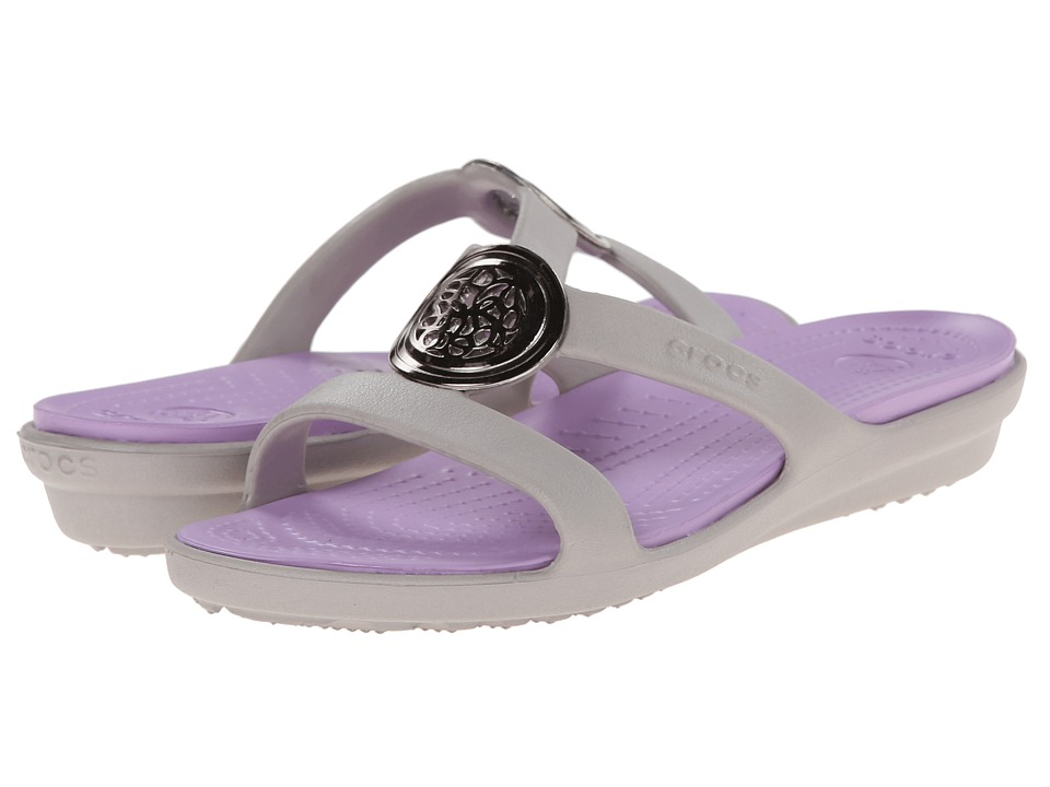 Crocs - Sanrah Circle Embellishment Sandal (Platinum/Iris) Women's Shoes