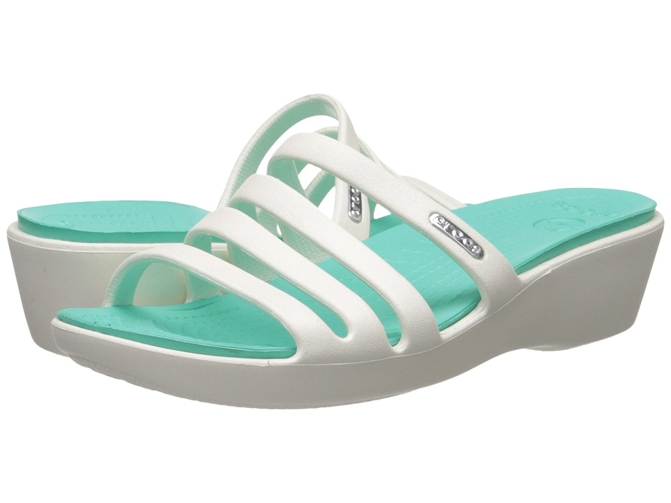 Crocs - Rhonda Wedge Sandal (Oyster/Island Green) Women's Sandals