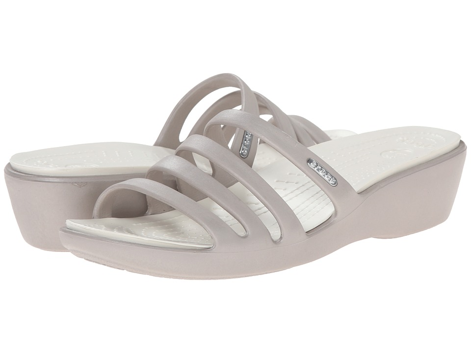Crocs - Rhonda Wedge Sandal (Platinum/Oyster) Women's Sandals