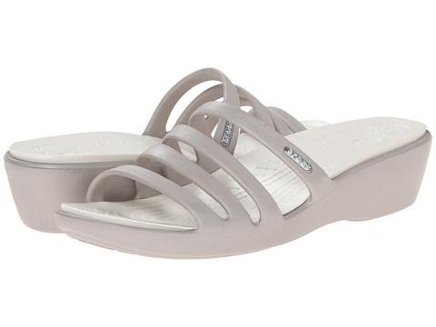 Crocs - Rhonda Wedge Sandal (Platinum/Oyster) Women