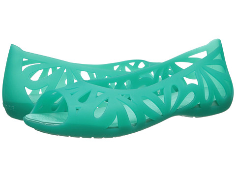 Crocs - Adrina III Peep Toe Flat (Tropical Teal/Island Green) Women's Flat Shoes