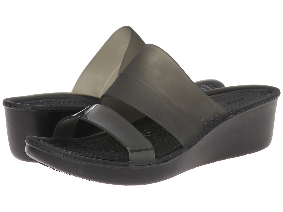 Crocs - Color Block Translucent Mini Wedge (Black/Black) Women's Wedge Shoes
