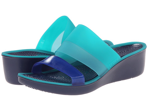Crocs - Color Block Translucent Mini Wedge (Tropical Teal/Nautical Navy) Women's Wedge Shoes