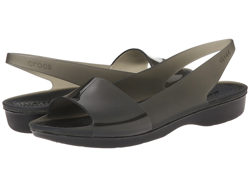 Crocs - Color Block Translucent Slingback Flat (Black/Black) Women