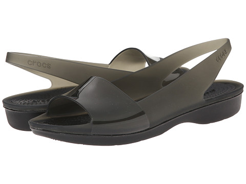 Crocs - Color Block Translucent Slingback Flat (Black/Black) Women's Sling Back Shoes